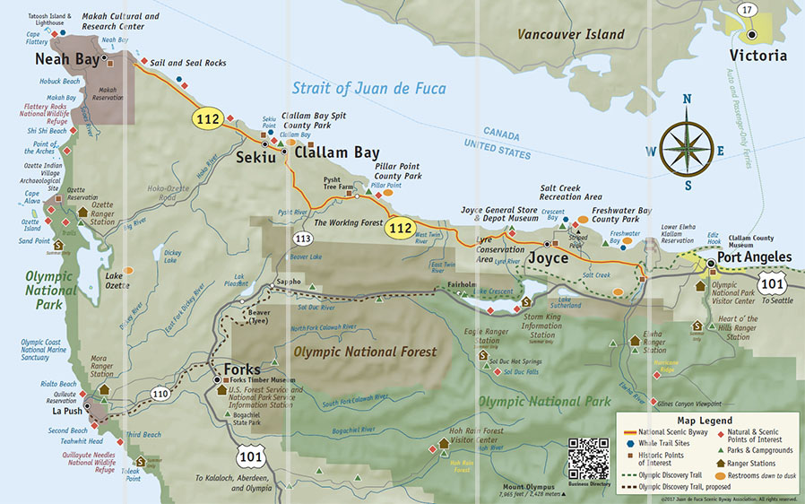 Strait Of Juan De Fuca Scenic Byway Located On The Olympic Peninsula - Interactive map of the continental divide in the us